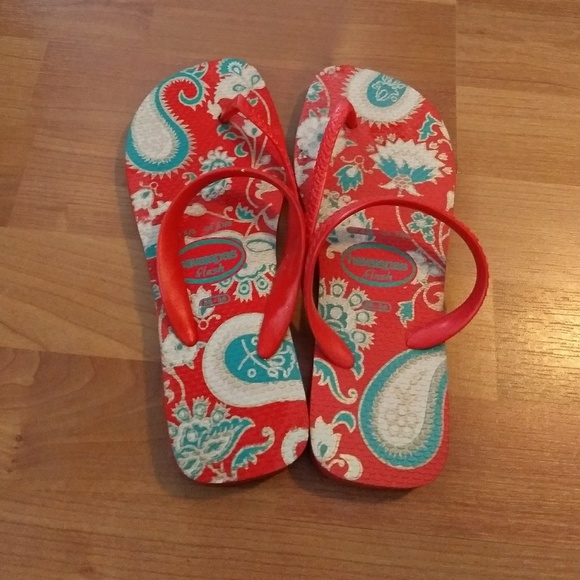 8e32453d7a506c Havaianas red turquoise   gold flip flops size 4 5